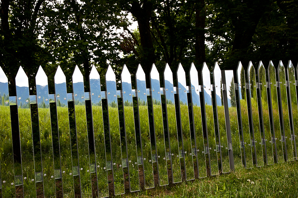 fence made of mirrored glass